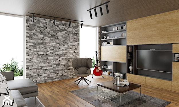 szara cegła na ścianie, szary dywan w salonie, kwadratowy stolik, drewniany regał