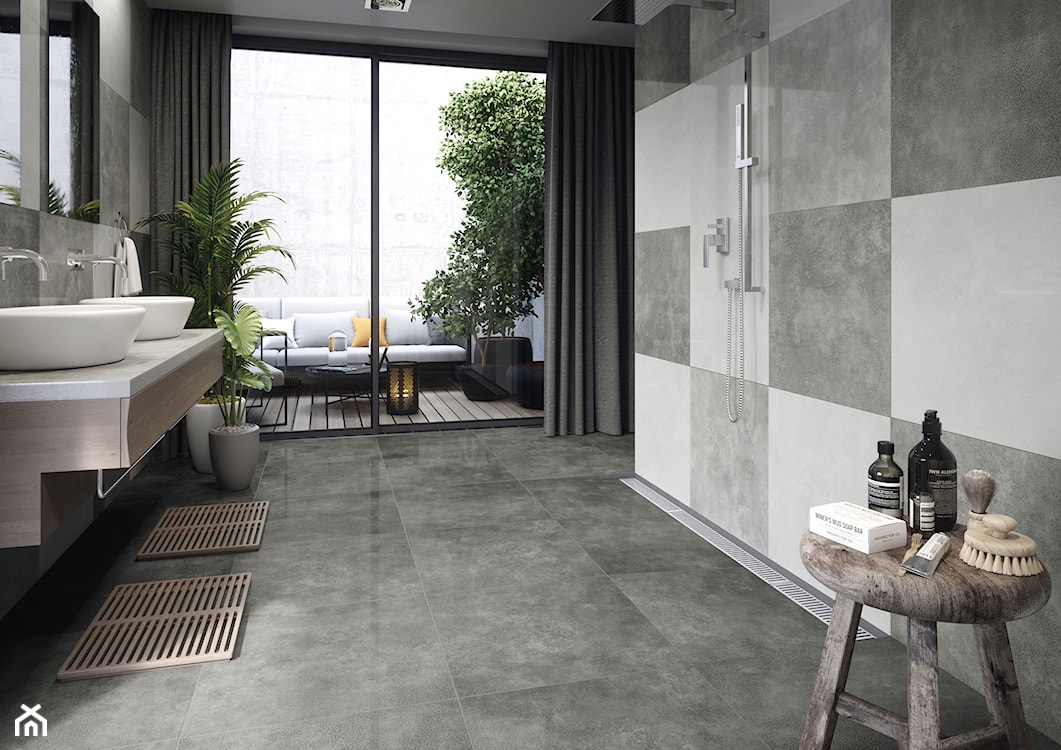 beton w łazience, płytki inspirowane betonem, łazienka w stylu naturalnym