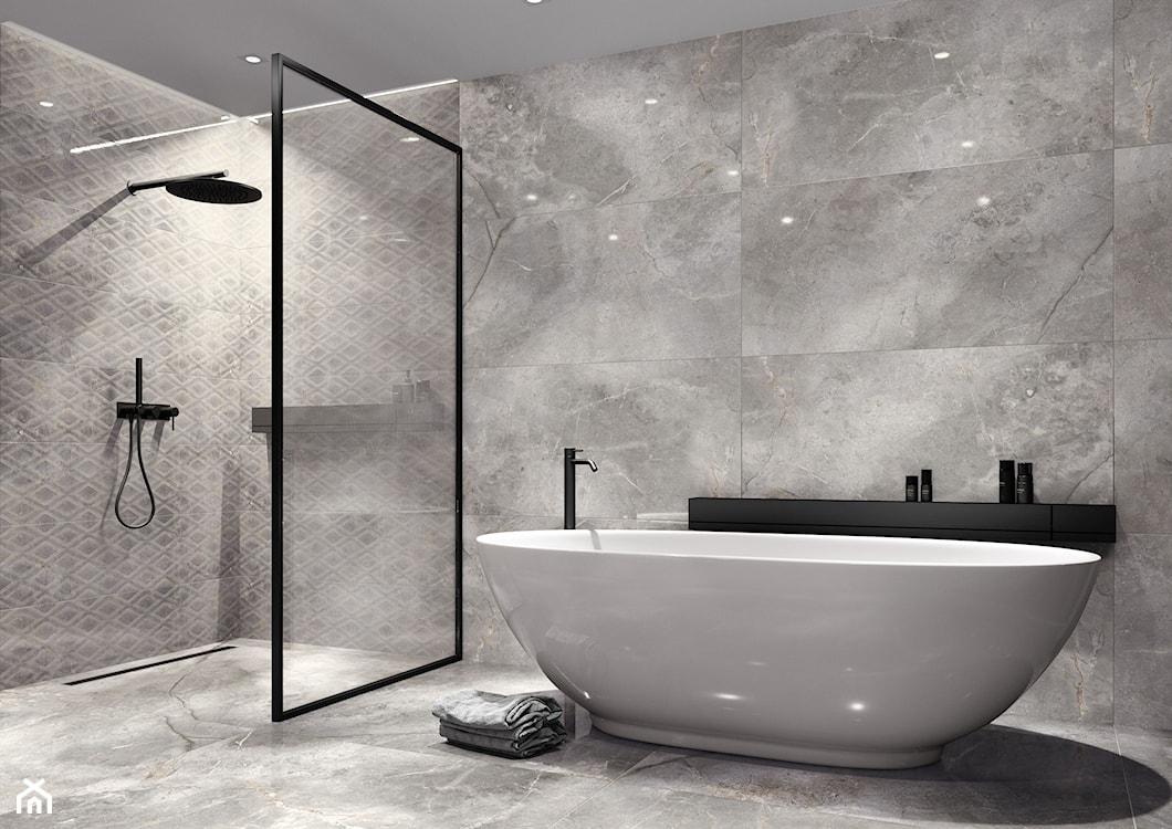 nowoczesna łazienka, szara łazienka, płytki polerowane