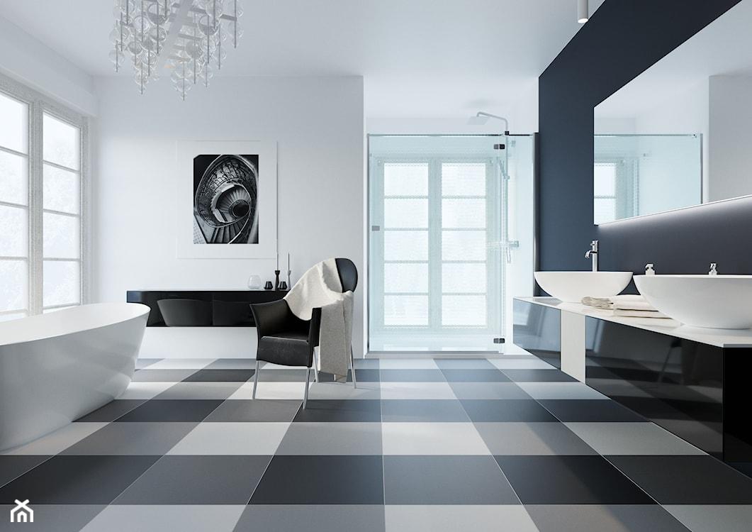 biało czarne płytki w łazience