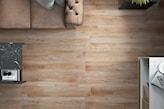 płytki o fakturze drewna w salonie, skórzana sofa