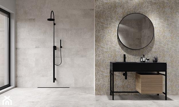 łazienka minimalistyczna, szare płytki do łazienki