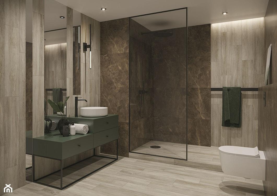 płytki drewnopodobne na ścianie w łazience