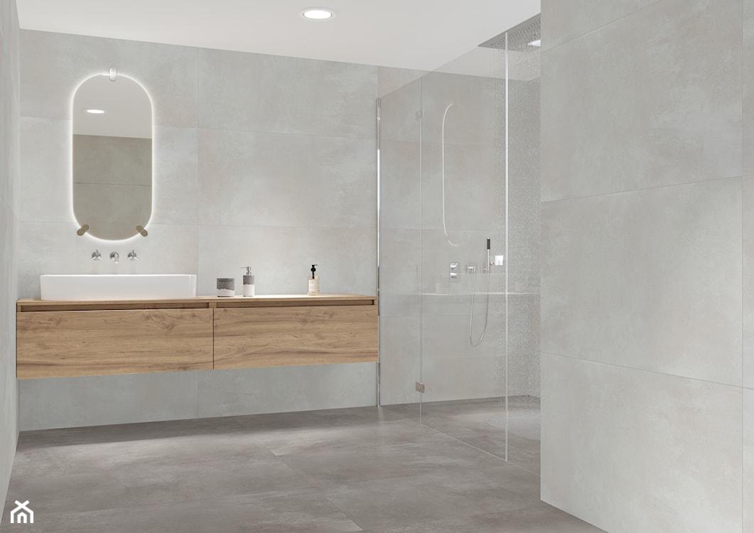 szara łazienka, duże płytki w łazience, płytki imitujące beton