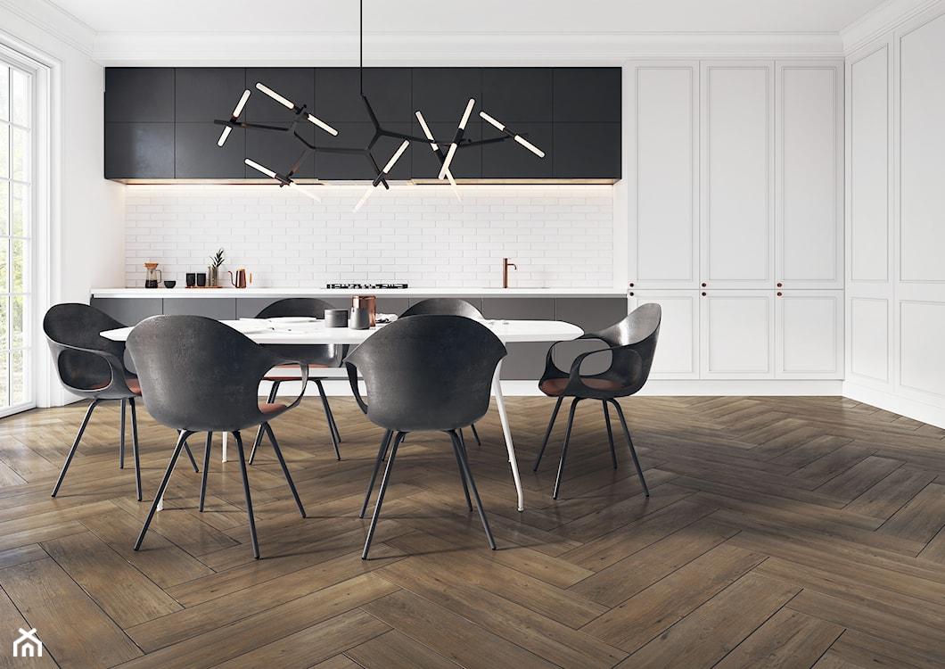 płytki gresowe imitujące drewno ułożone w jodełkę  w kuchni