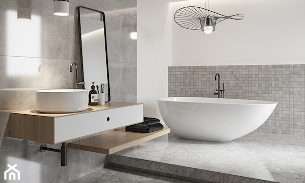 szara łazienka, beton w łazience, mozaika w łazience