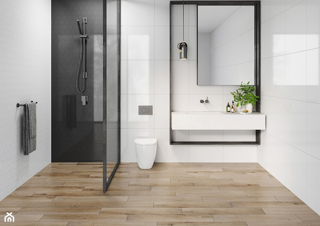 biało-czarna łazienka, łazienka z drewnem, minimalistyczna łazienka