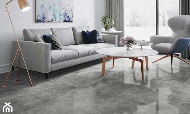 minimalistyczny salon,  szare płytki, płytki podłogowe