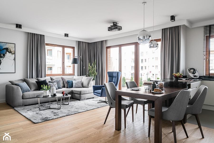 Aranżacje wnętrz - Salon: Apartament Altoria 2 - Gdynia - Duży szary salon z kuchnią z jadalnią z tarasem / balkonem, styl nowoczesny - Anna Serafin Architektura Wnętrz. Przeglądaj, dodawaj i zapisuj najlepsze zdjęcia, pomysły i inspiracje designerskie. W bazie mamy już prawie milion fotografii!