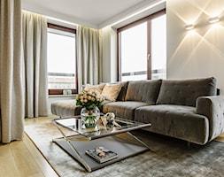Apartament - Warszawa Powiśle - Mały biały beżowy salon, styl nowoczesny - zdjęcie od Anna Serafin Architektura Wnętrz