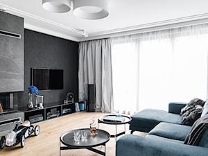 Dom Gdańsk Kowale - Średni biały czarny salon, styl nowoczesny - zdjęcie od Anna Serafin Architektura Wnętrz