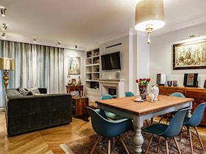 Dom - Gdańsk Oliwa - Średnia otwarta beżowa jadalnia w salonie, styl klasyczny - zdjęcie od Anna Serafin Architektura Wnętrz