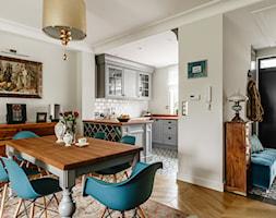 Dom - Gdańsk Oliwa - Średnia otwarta beżowa jadalnia w kuchni w salonie, styl klasyczny - zdjęcie od Anna Serafin Architektura Wnętrz