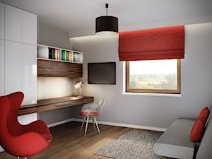 Projekt wnętrz domu jednorodzinnego-Realizacja 2013/2014 - Średnie szare biuro kącik do pracy w pokoju, styl nowoczesny - zdjęcie od Mogho-Design