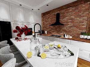 Salon z kuchnią i jadalnią - Duża otwarta biała kuchnia w kształcie litery l z wyspą, styl vintage - zdjęcie od ARTIST DESIGN