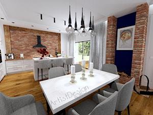 Salon z kuchnią i jadalnią - Średnia otwarta biała kuchnia w kształcie litery l z wyspą z oknem, styl vintage - zdjęcie od ARTIST DESIGN