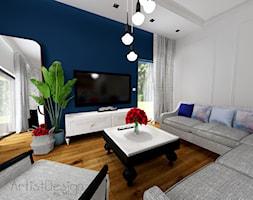 Salon z kuchnią i jadalnią - Średni biały niebieski salon, styl vintage - zdjęcie od ARTIST DESIGN