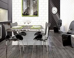 Inspiracje: Tapeta w kuchni - Średnia otwarta biała czarna jadalnia jako osobne pomieszczenie, styl industrialny - zdjęcie od Small world of design