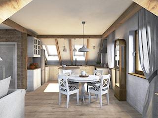 Projekt mieszkania na poddaszu w stylu rustyklanym