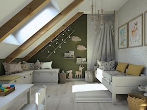 Projekt mieszkania na poddaszu w stylu rustyklanym - Średni biały zielony pokój dziecka dla chłopca dla dziewczynki dla ucznia dla malucha, styl rustykalny - zdjęcie od Karolina Saj-Chodorowska Architektura Wnętrz