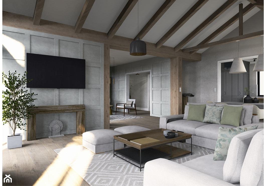 Pastelowy salon z zielonymi dodatkami - zdjęcie od Karolina Saj-Chodorowska Architektura Wnętrz - Homebook
