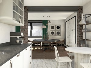 Projekt mieszkania w stylu industrialnym II - Średnia otwarta szara czarna kuchnia jednorzędowa w aneksie z oknem, styl industrialny - zdjęcie od Karolina Saj-Chodorowska Architektura Wnętrz