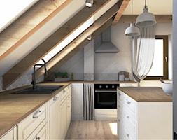 Projekt mieszkania na poddaszu w stylu rustyklanym - Duża zamknięta szara kuchnia w kształcie litery l z wyspą z oknem, styl rustykalny - zdjęcie od Karolina Saj-Chodorowska Architektura Wnętrz