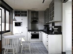 Projekt mieszkania w stylu industrialnym II - Średnia otwarta szara kuchnia w kształcie litery l z oknem, styl industrialny - zdjęcie od Karolina Saj-Chodorowska Architektura Wnętrz