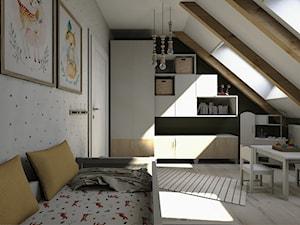Projekt mieszkania na poddaszu w stylu rustyklanym - Średni biały czarny pokój dziecka dla chłopca dla dziewczynki dla ucznia dla malucha, styl rustykalny - zdjęcie od Karolina Saj-Chodorowska Architektura Wnętrz