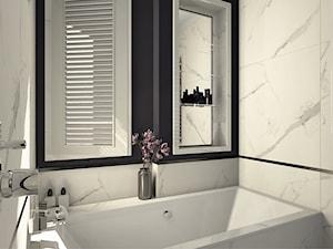 Łazienka w stylu Modern Classic - Mała biała czarna łazienka w bloku w domu jednorodzinnym bez okna, styl klasyczny - zdjęcie od Karolina Saj-Chodorowska Architektura Wnętrz