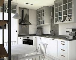 Projekt mieszkania w stylu industrialnym II - Mała zamknięta szara czarna kuchnia w kształcie litery l z oknem, styl industrialny - zdjęcie od Karolina Saj-Chodorowska Architektura Wnętrz