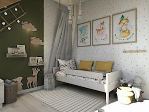Projekt mieszkania na poddaszu w stylu rustyklanym - Średni szary zielony pokój dziecka dla chłopca dla dziewczynki dla malucha, styl rustykalny - zdjęcie od Karolina Saj-Chodorowska Architektura Wnętrz