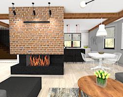 Wnętrza prywatne - Mały szary czarny salon z kuchnią z jadalnią, styl vintage - zdjęcie od MONTARI