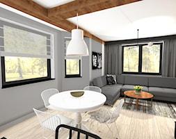 Wnętrza prywatne - Mały szary salon z jadalnią, styl vintage - zdjęcie od MONTARI