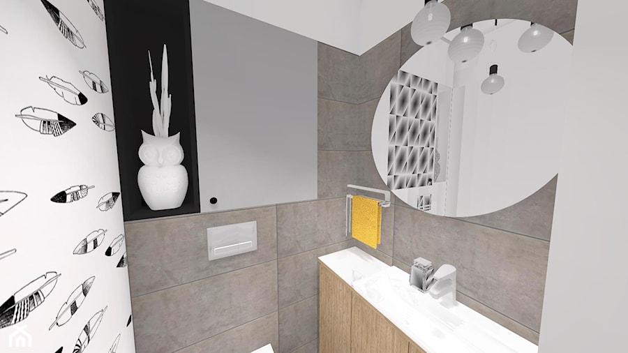 Szare Płytki W Wc Projekt Wc Małe Wc Grafika W łazience