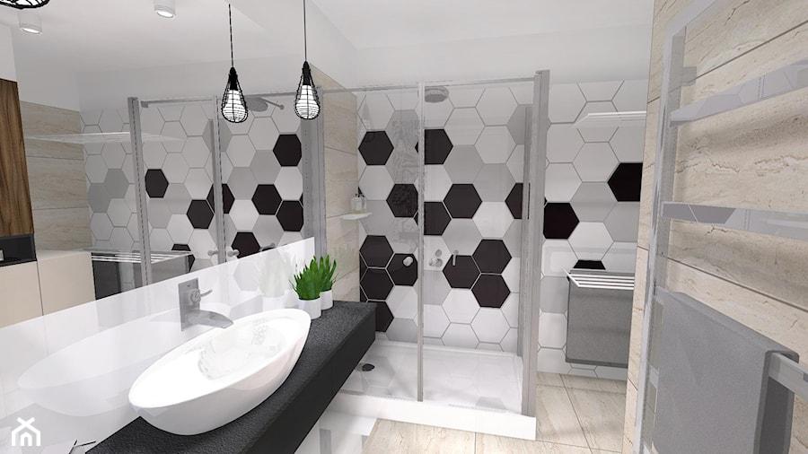 Heksagonalne Płytki Trawertyn W łazience Kamień W łazience Beżowa