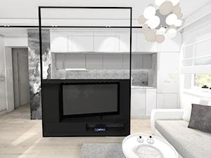 Wnętrza prywatne - Mały biały czarny salon z kuchnią z jadalnią, styl glamour - zdjęcie od MONTARI