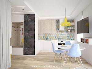 Projekt mieszkania (kawalerki) - jadalnia - zdjęcie od projektowanie wnętrz arch. Joanna Korpulska
