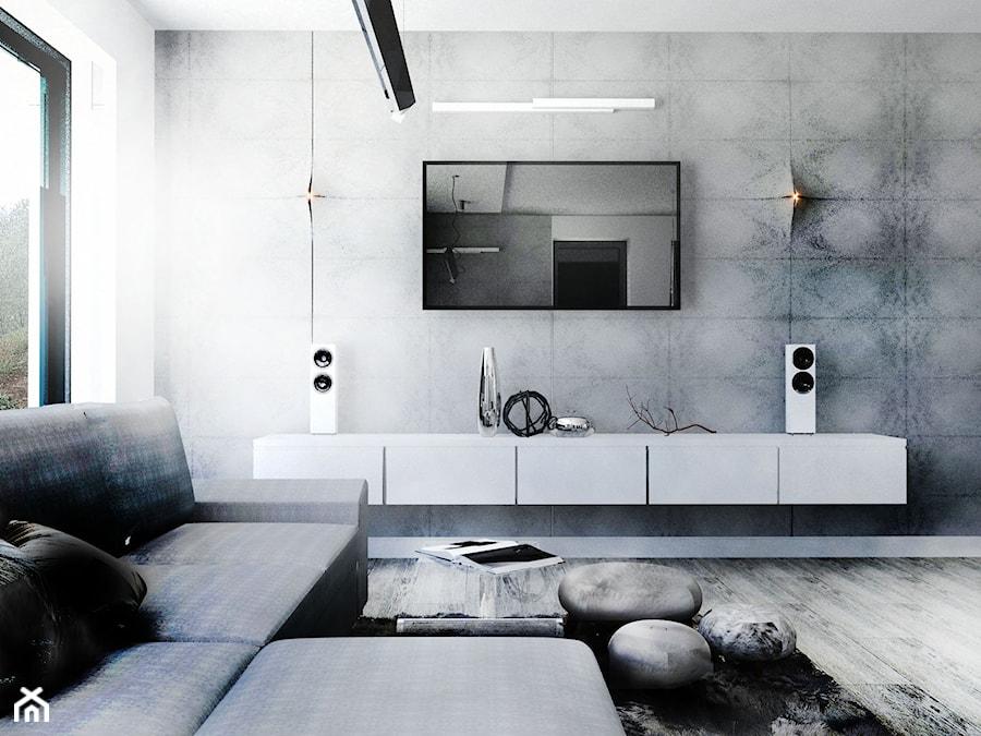 Minimalistyczny salon biel beton zdj cie od gabriella for Beton salon