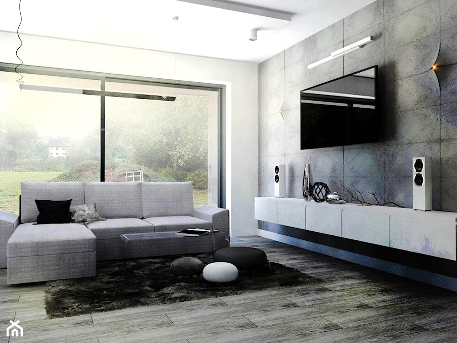 minimalistyczny salon biel beton zdj cie od gabriella bober. Black Bedroom Furniture Sets. Home Design Ideas