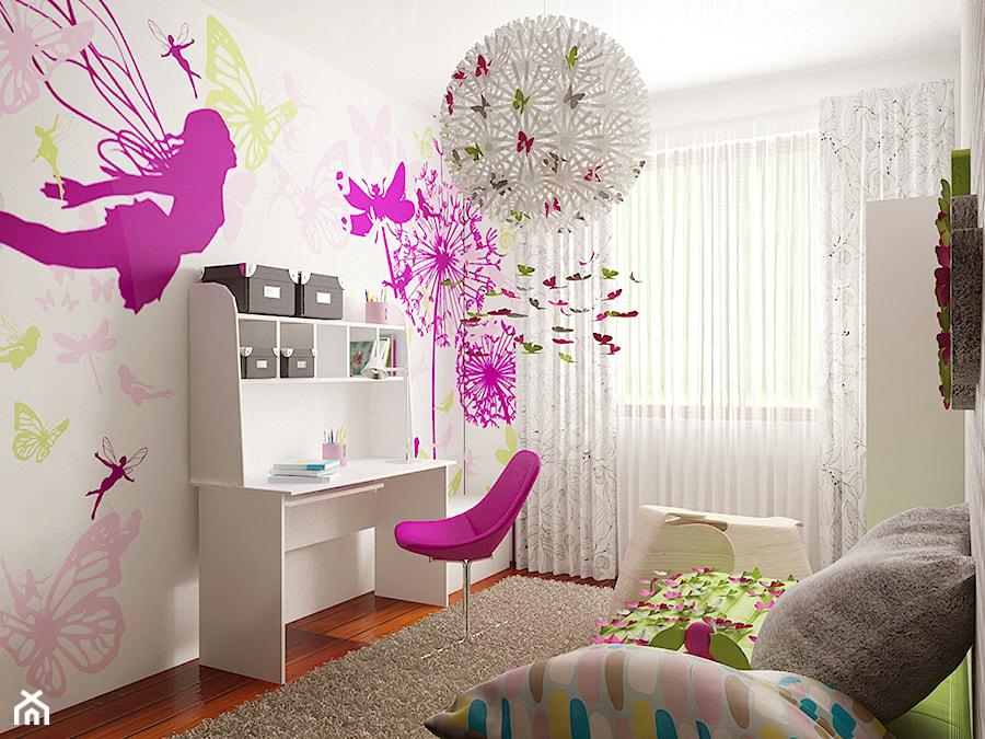 Motylarnia Poli - Średni biały żółty różowy kolorowy pokój dziecka dla dziewczynki dla ucznia dla nastolatka, styl nowoczesny - zdjęcie od MooKoo Design
