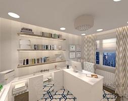 Apartament na Bemowie w stylu Nowojorskim - Średnie szare biuro domowe kącik do pracy w pokoju, styl nowojorski - zdjęcie od Beauty Homes