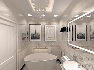 Apartament na Bemowie w stylu Nowojorskim - Mała szara łazienka na poddaszu w bloku w domu jednorodzinnym bez okna, styl nowojorski - zdjęcie od Beauty Homes