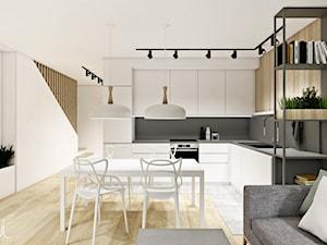 DOM | BORKOWO - Średnia biała szara kuchnia w kształcie litery l w aneksie, styl nowoczesny - zdjęcie od kuldesign