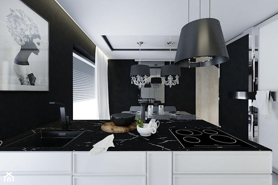 DOM | LĘBORK - Średnia otwarta biała czarna kuchnia jednorzędowa w aneksie z oknem, styl nowoczesny - zdjęcie od kuldesign