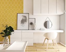 PROJEKT DOMU | BANINO | 2017 - Mała biała żółta sypialnia, styl nowoczesny - zdjęcie od kuldesign