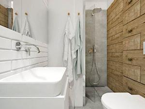 DOM | BORKOWO - Mała biała łazienka w bloku w domu jednorodzinnym bez okna, styl nowoczesny - zdjęcie od kuldesign