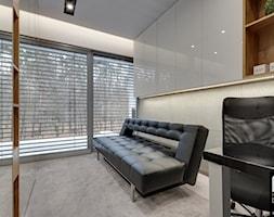 Kuchnia otwarta - Średnie szare biuro domowe kącik do pracy w pokoju, styl nowoczesny - zdjęcie od marmo Design Projektowanie wnętrz