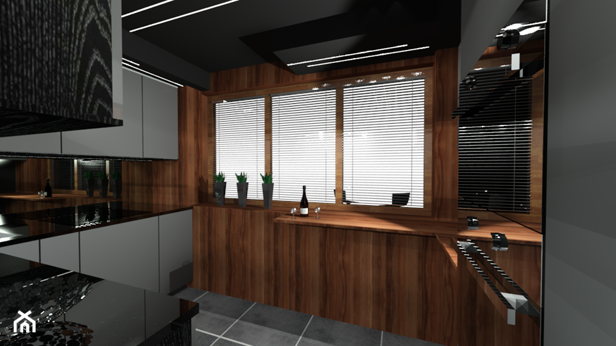 Szara kuchnia ocieplona drewnem  zdjęcie od Ewelina   -> Kuchnia Bialo Szara Z Drewnem