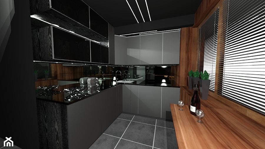 Szara kuchnia ocieplona drewnem  zdjęcie od Ewelina   -> Kuchnia Czarna Z Drewnem